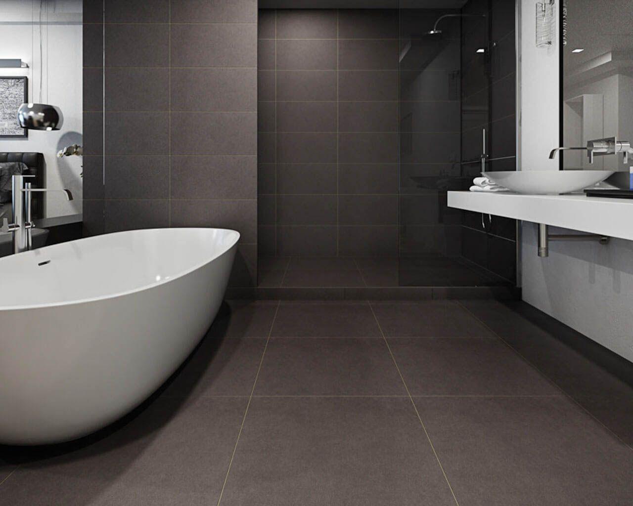 Minimalistic Graphite Bathroom Near A Bedroom Ceramika