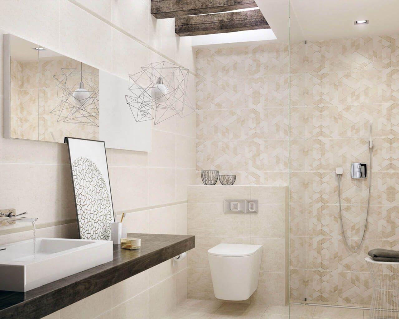 ma�a �azienka z prysznicem w barwach piaskowca ceramika
