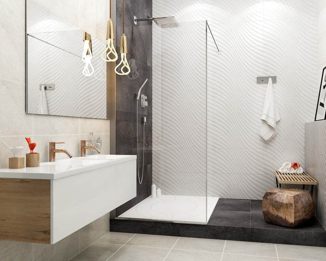 Modernes, kleines Bad mit Dusche | Ceramika Paradyz