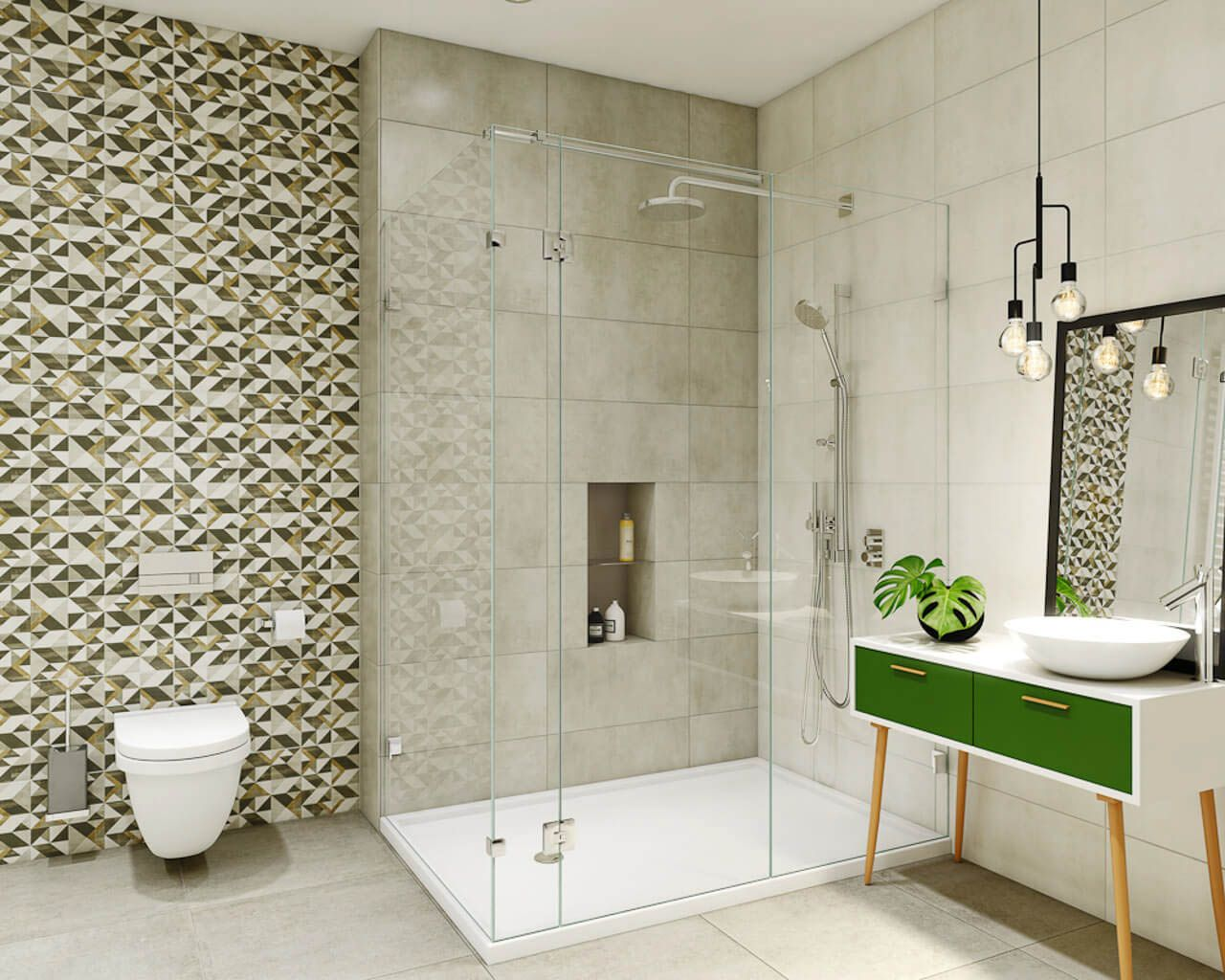 Small Modern Bathroom With A Shower In Bright Earthy Colours Ceramika Paradyz