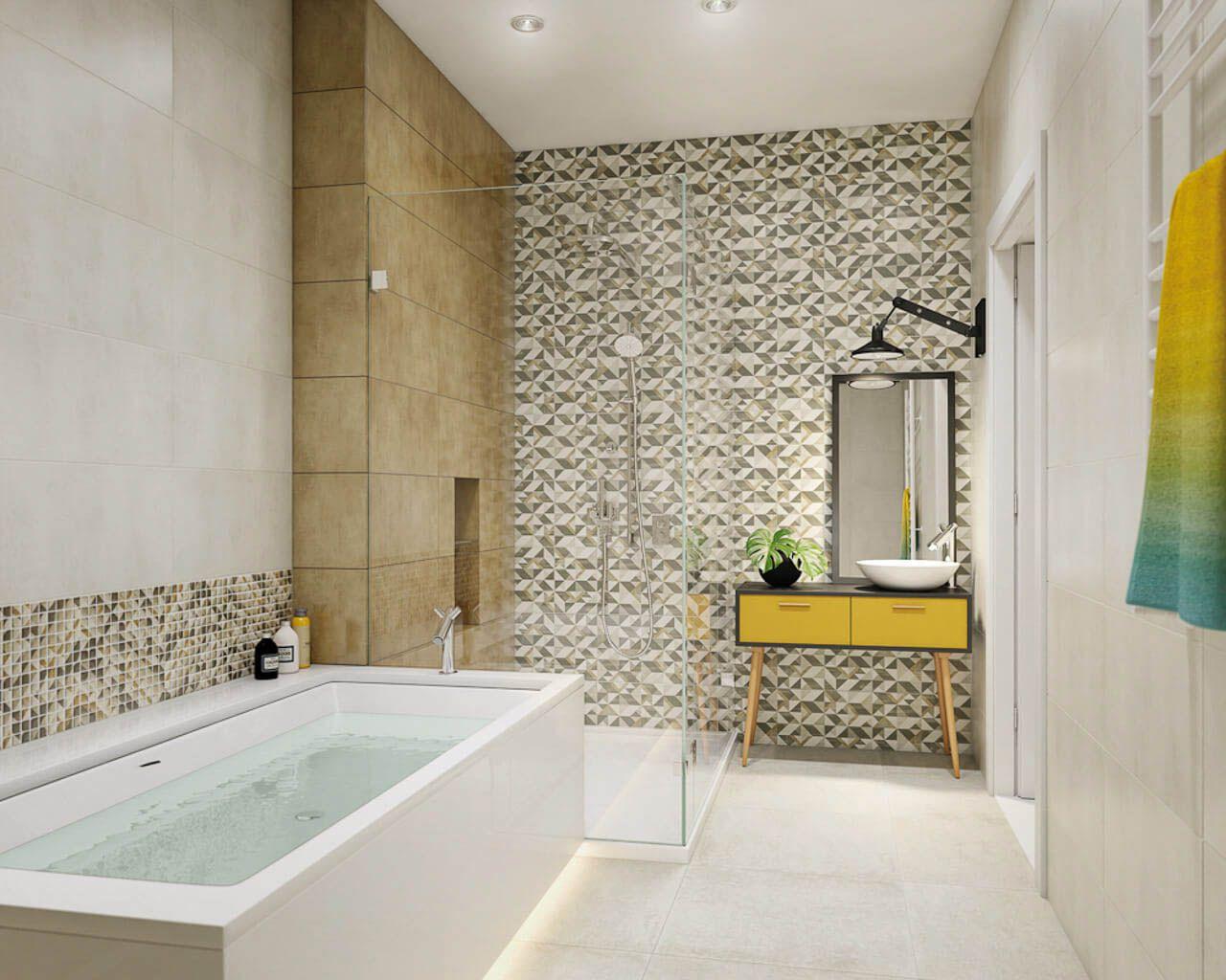 Kleines, modernes Bad mit einer Badewanne und Dusche ...