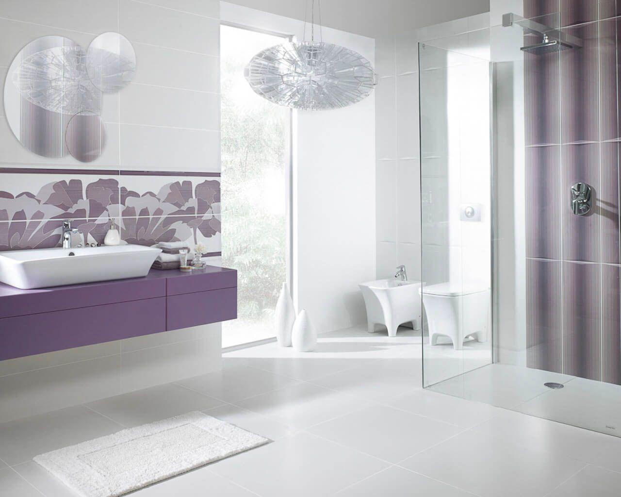 Biało Fioletowa łazienka Z Geometrycznymi Kwiatami