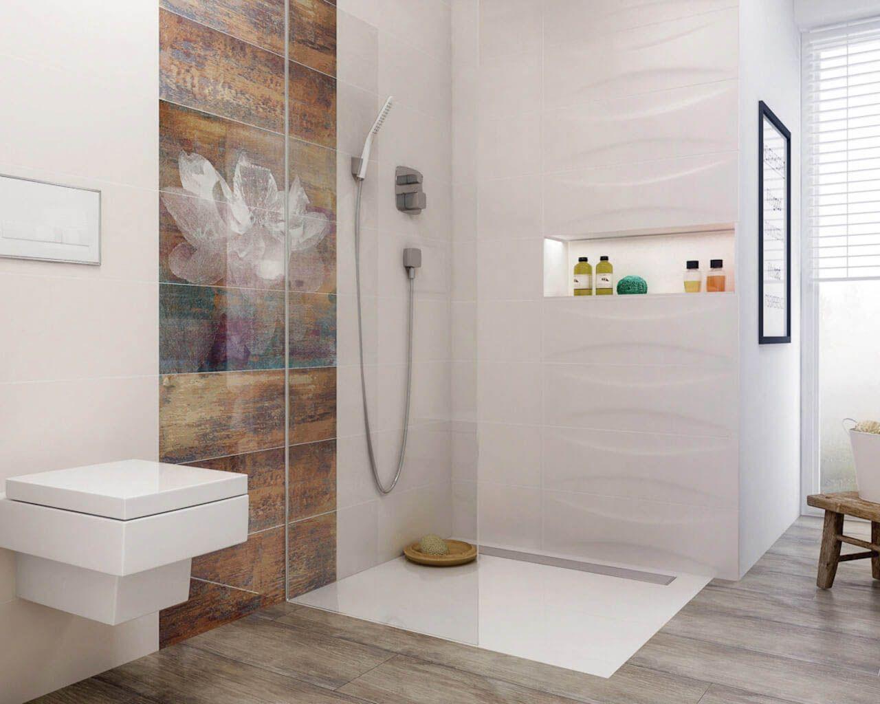 Niewielka łazienka z kwiatowym wzorem | Ceramika Paradyż