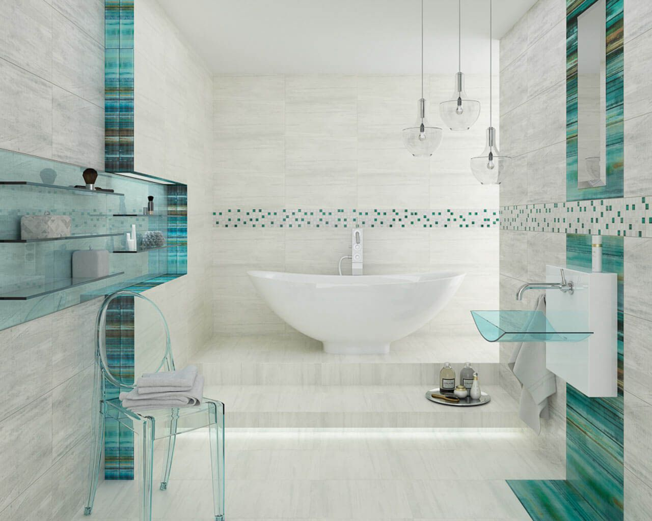 Großes, Modernes Bad Mit Einer Badewanne Und Gläsernen Ornamenten