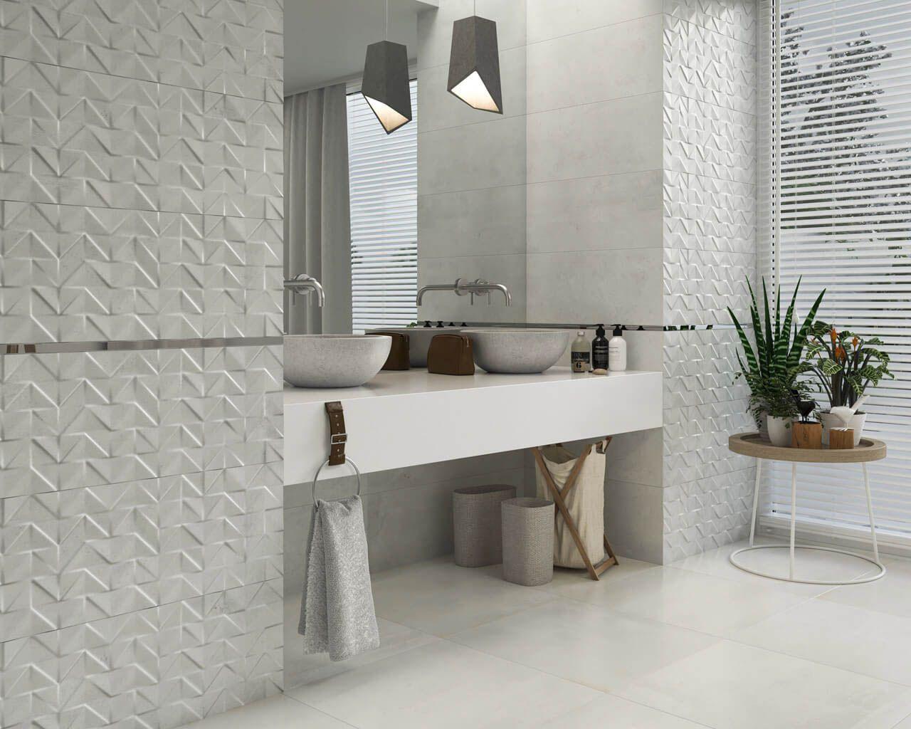 Jasna Kamienna łazienka Ze Strukturą Trójwymiarowych