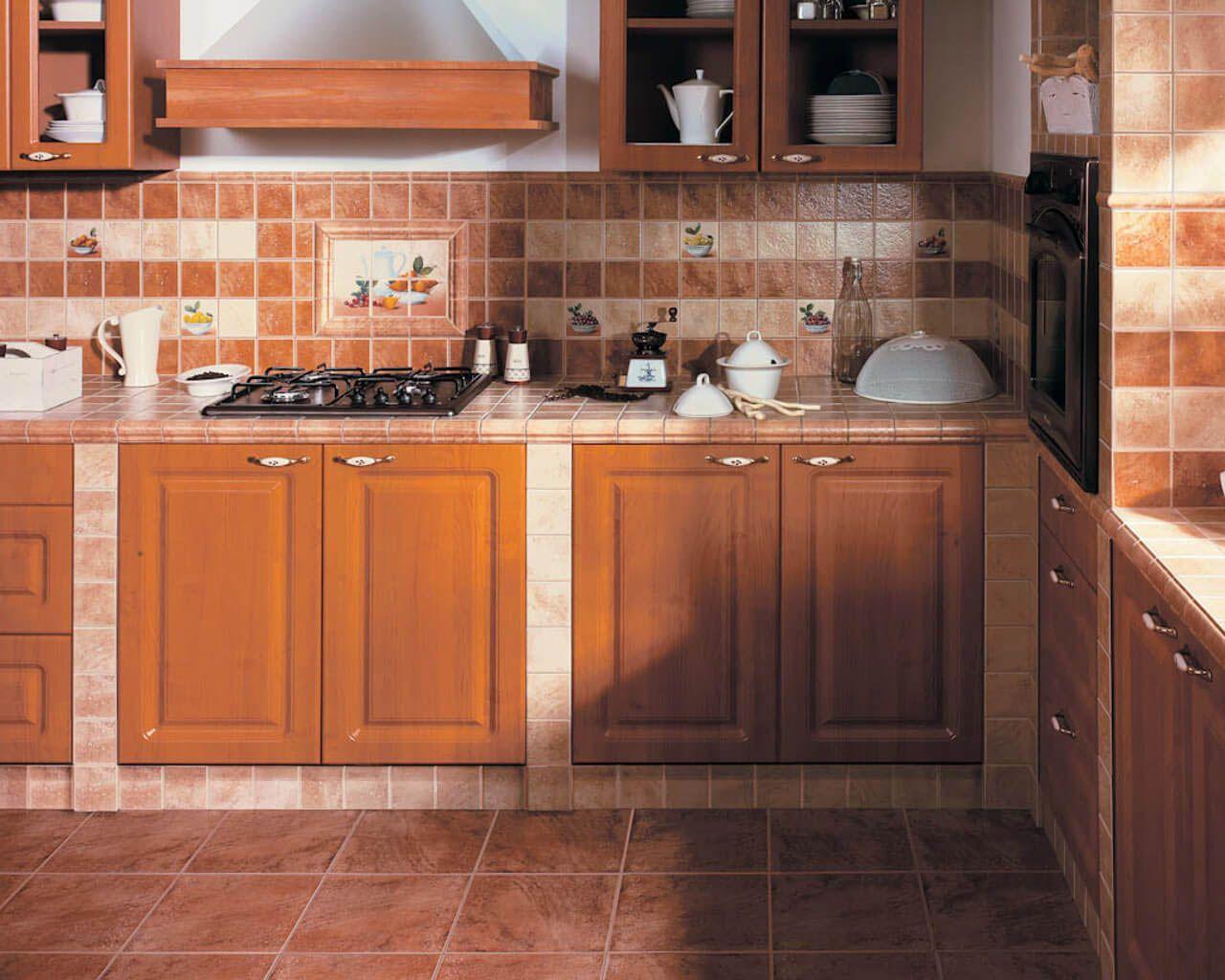Beige And Brown Kitchen With A Ceramic Tile Worktop Ceramika Paradyz