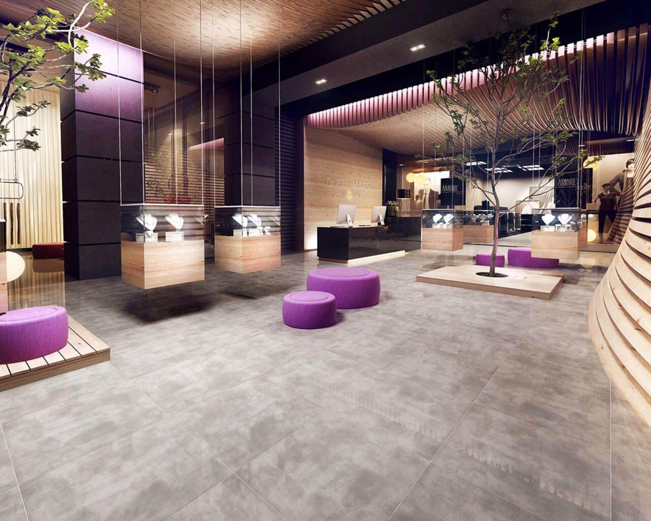 Grey And Wood In A Modern Hotel Lobby Ceramika Paradyz