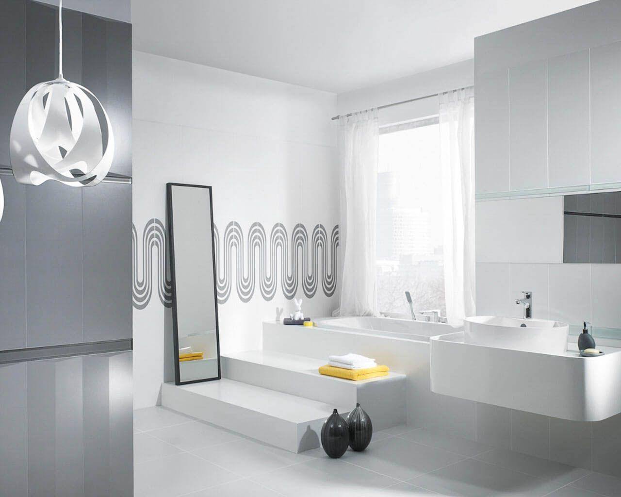 Przestronna Biało Szara łazienka Z Geometrycznym Wzorem Ceramika