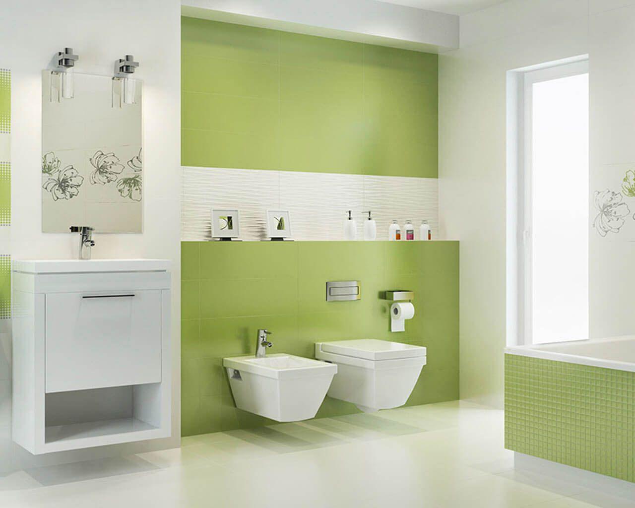 Modernes Weiß Grünes Bad Mit Einer Badewanne