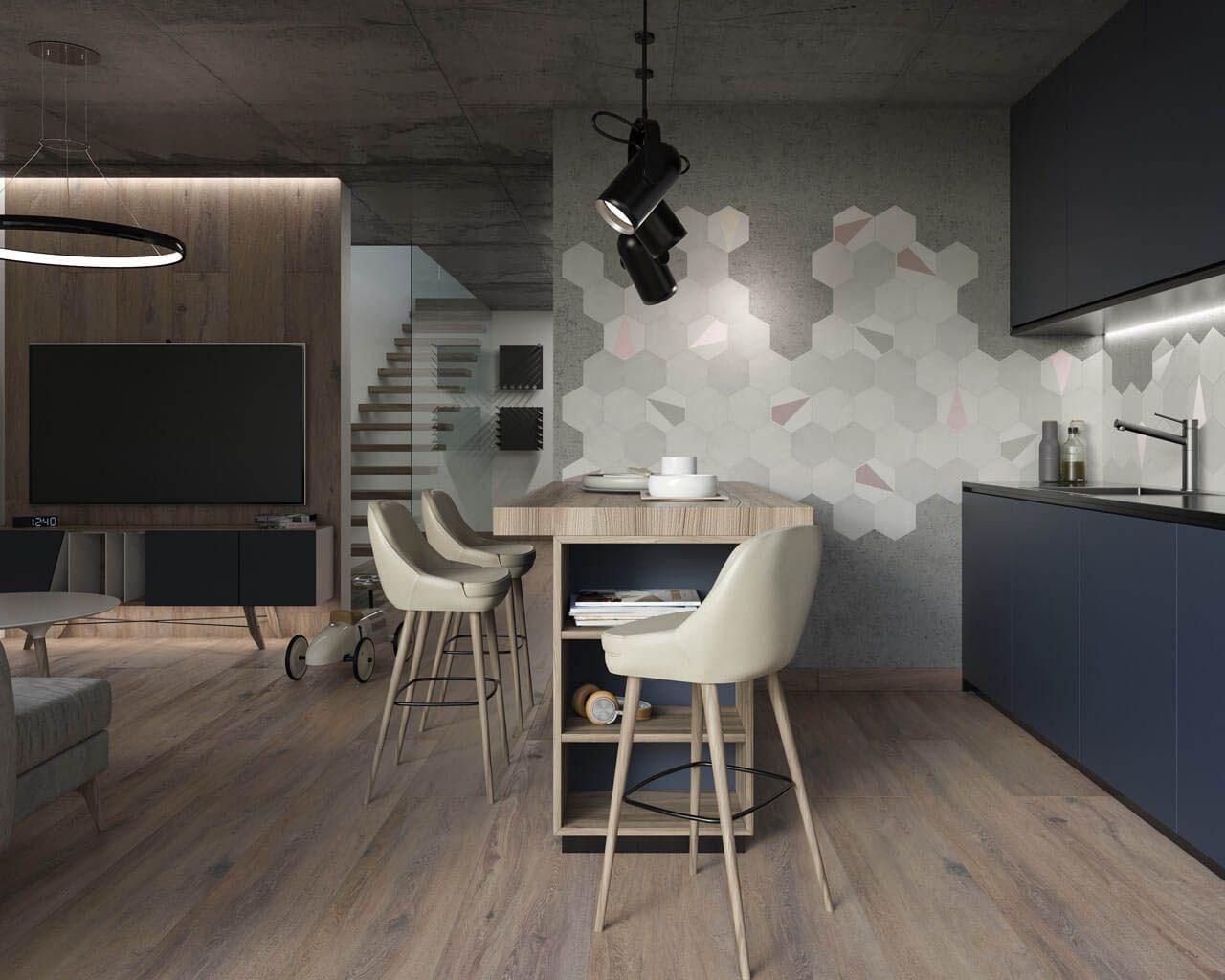 Moderne Küche mit Salon und Geometrie im Hintergrund ...