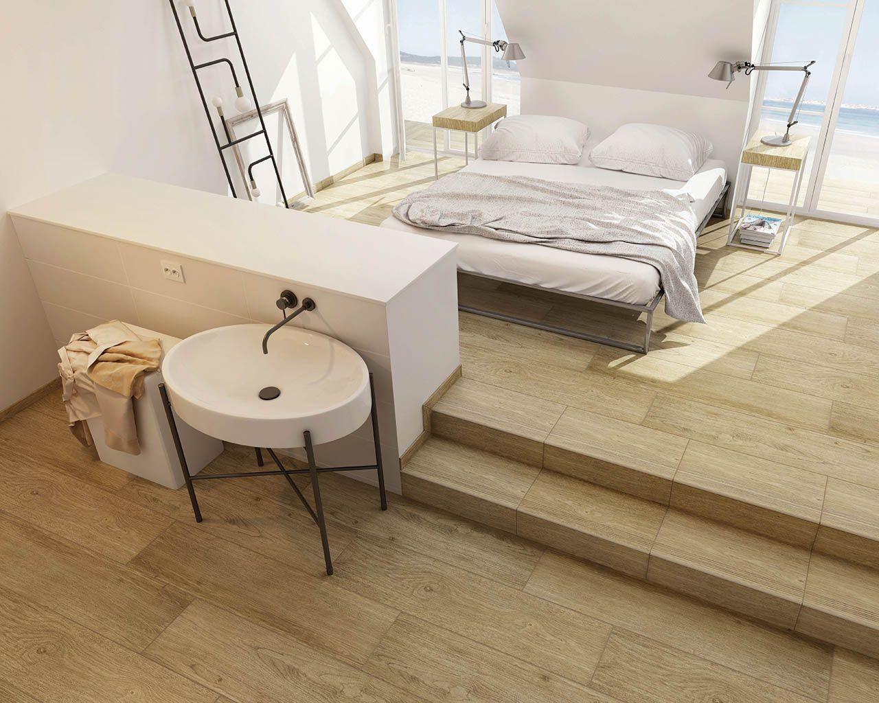 Gemütliches Schlafzimmer mit Bad im skandinavischen Stil | Ceramika ...