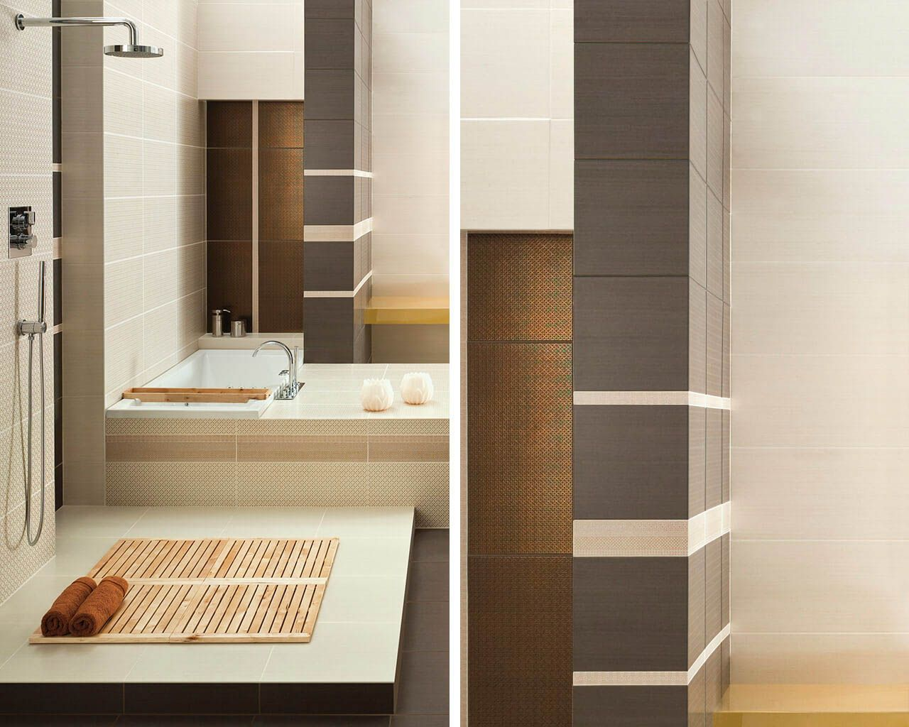 Bright space for a shower and a bathtub in a large bathroom ...