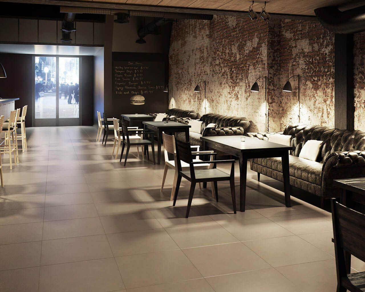 Stilvolle, moderne Bar in gemütlichem Braun und Grau | Ceramika Paradyz