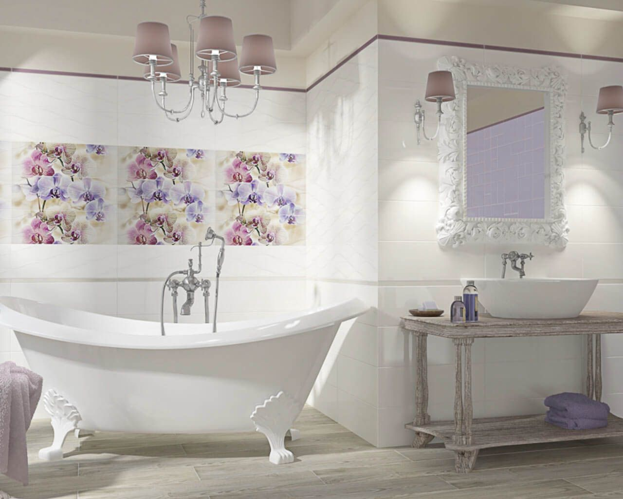 White and flowers in a romantic bathroom with a free-standing bathtub