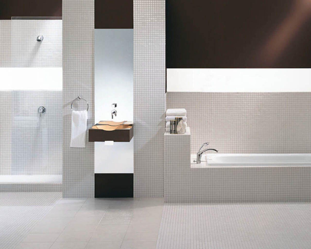 Minimalistyczna Biało Czarna łazienka Z Mozaiką W Roli