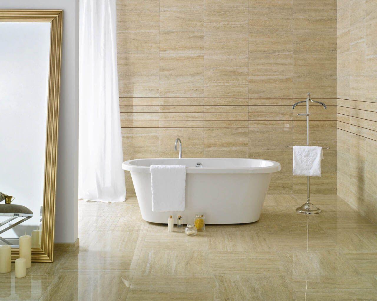Luxurious stone bathroom in a warm classic style | Ceramika Paradyz