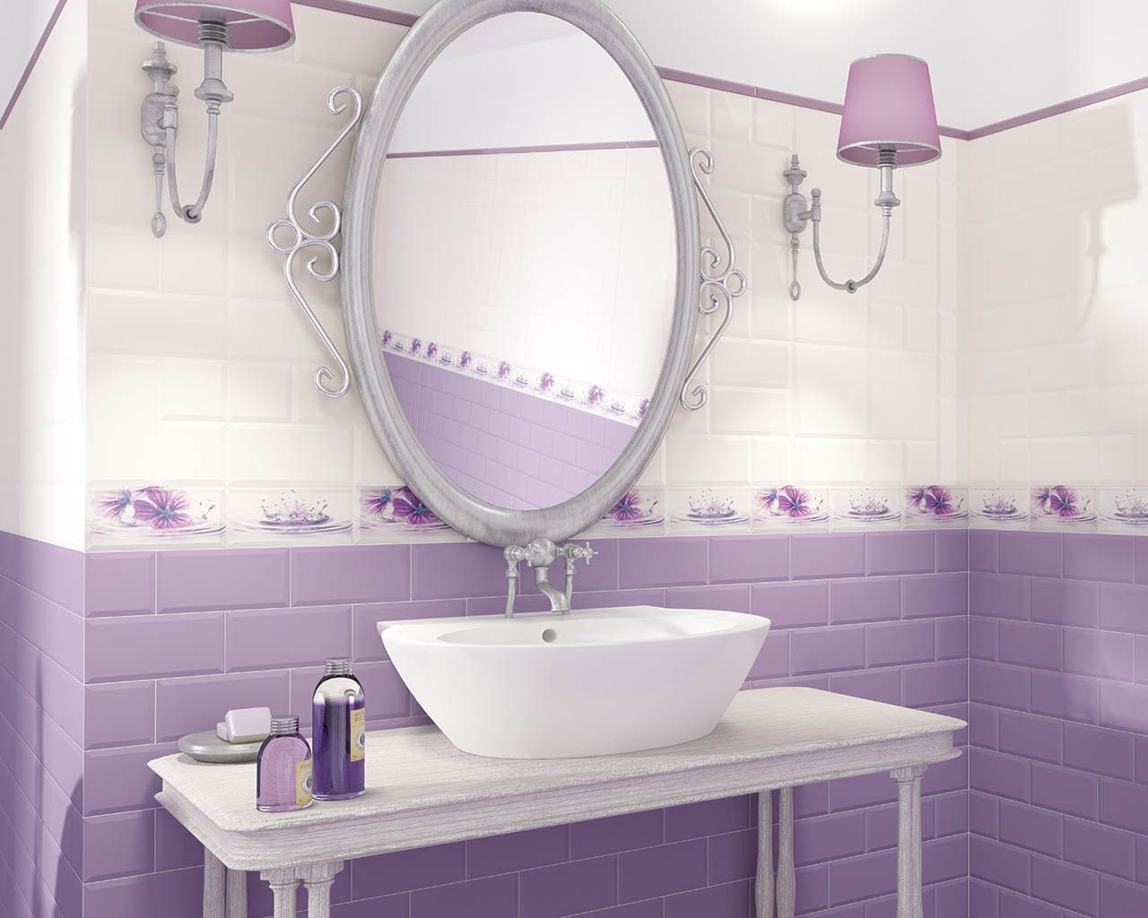 White And Lavender Bathroom Covered With Stack Bond Pattern Tiles A Floral Motif