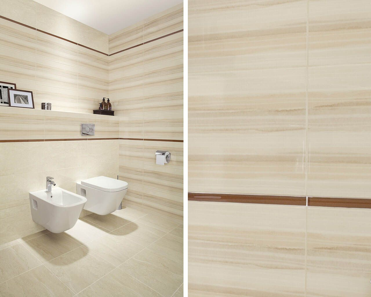 Subtle horizontal lines in a bright, classic bathroom | Ceramika Paradyz