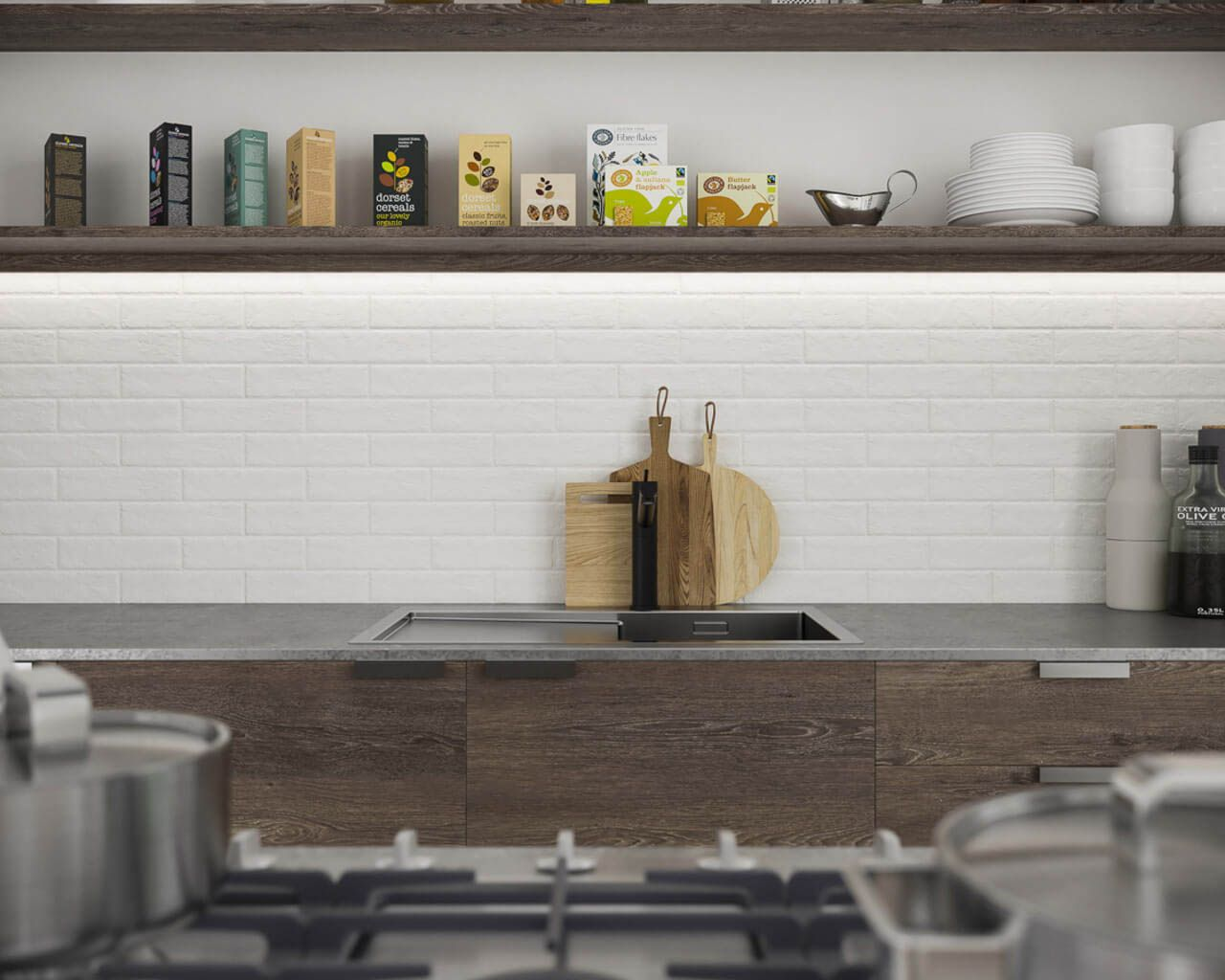Clinker tiles with a white brick look in a kitchen | Ceramika Paradyz