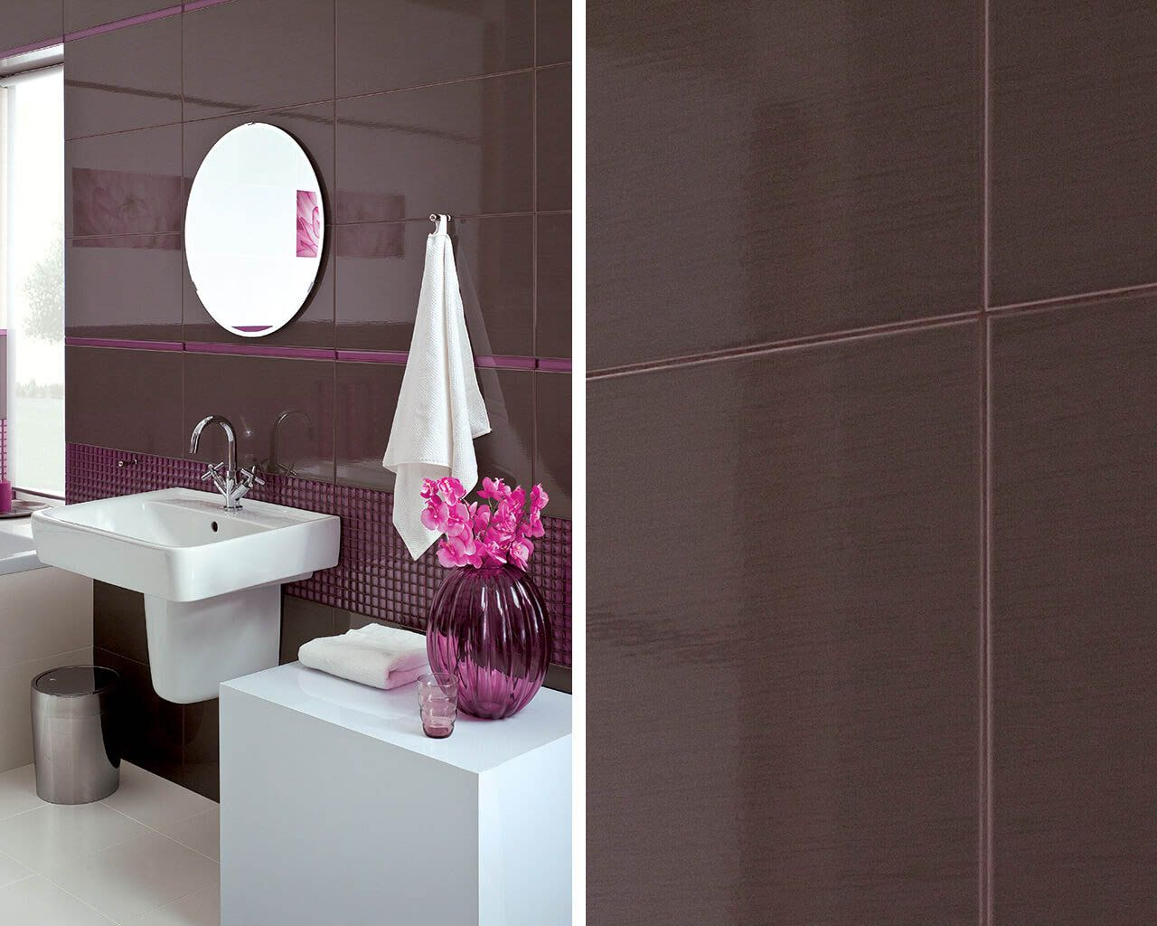 Plum and white corner with a washbasin in a modern bathroom