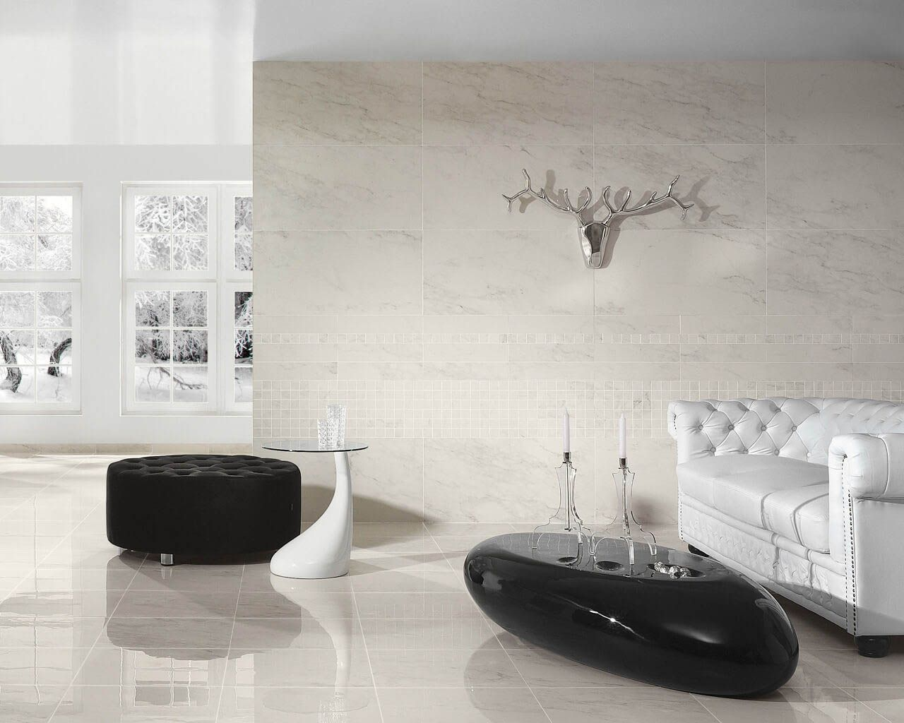 White And Black Exclusive Living Room In A Modern Classic