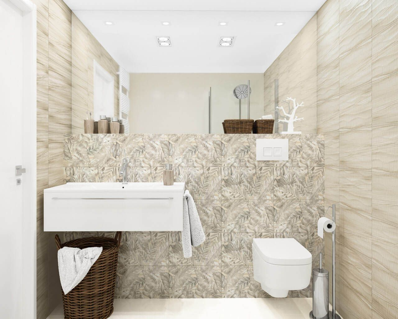 Exotic pattern in a small bathroom | Ceramika Paradyz
