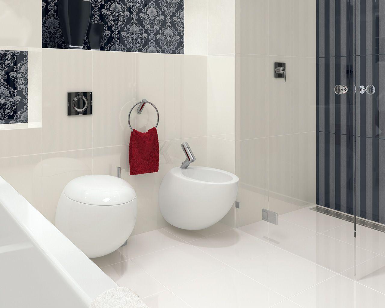 Czarno Biała łazienka W Stylu Glamour Ceramika Paradyż