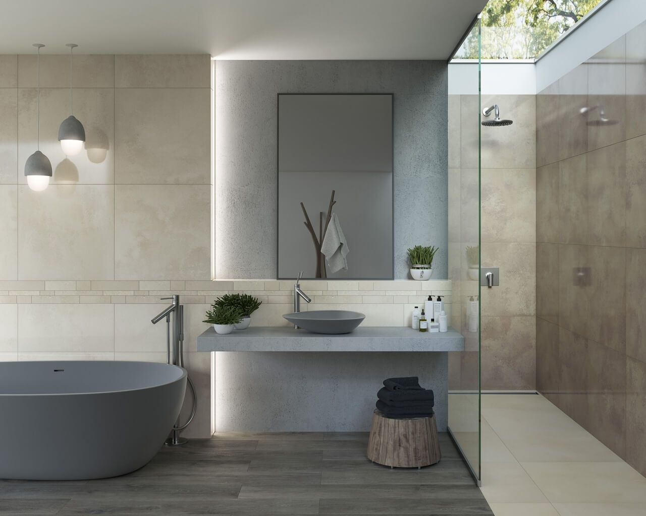Stone Wood And Concrete In The Bathroom Ceramika Paradyz