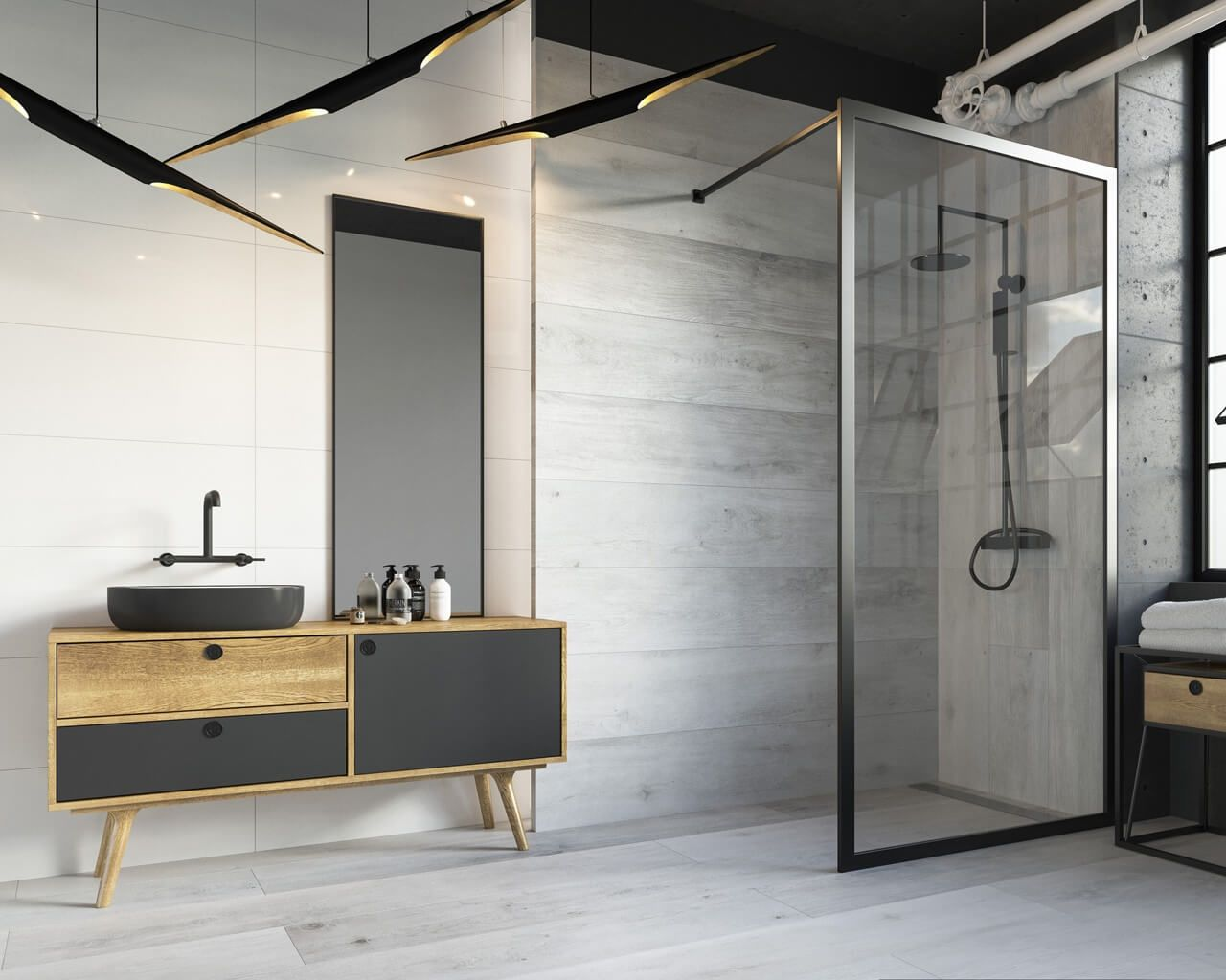 Raw charm of a loft bathroom ceramika paradyz