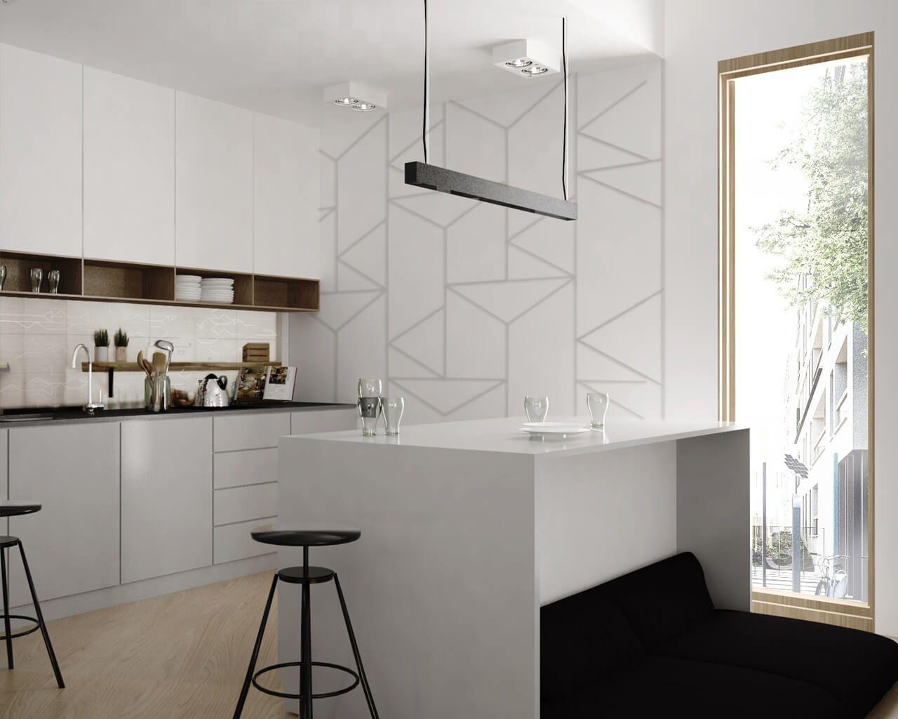 Biała Kuchnia Z Wyspą I Geometrycznym Akcentem Ceramika