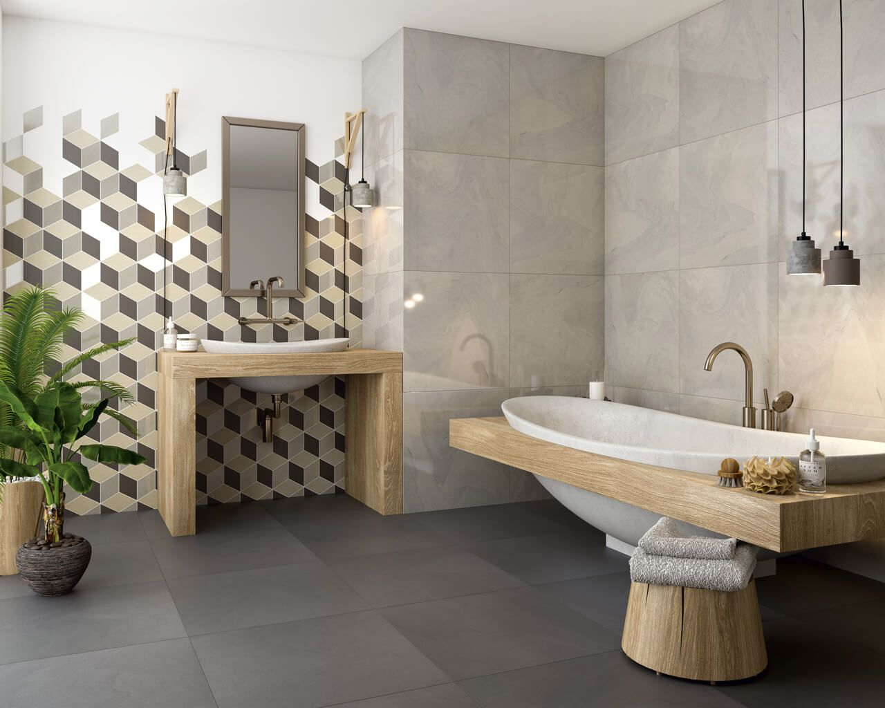 Direkt aus dem Wald in ein ... modernes Badezimmer | Ceramika Paradyz
