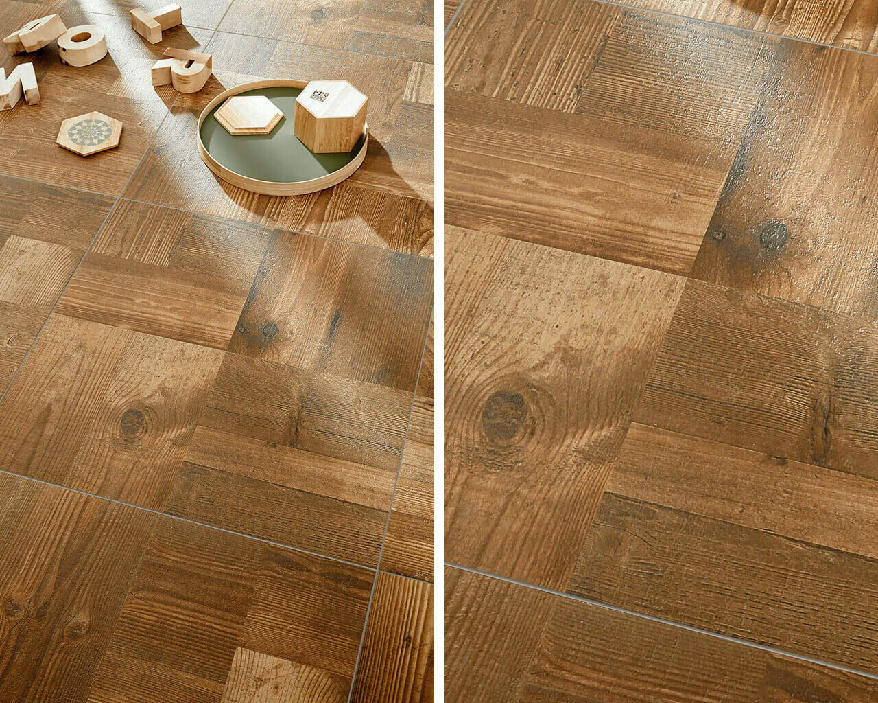 Eco Fun On A Warm Ceramic Floor With A Parquet Look