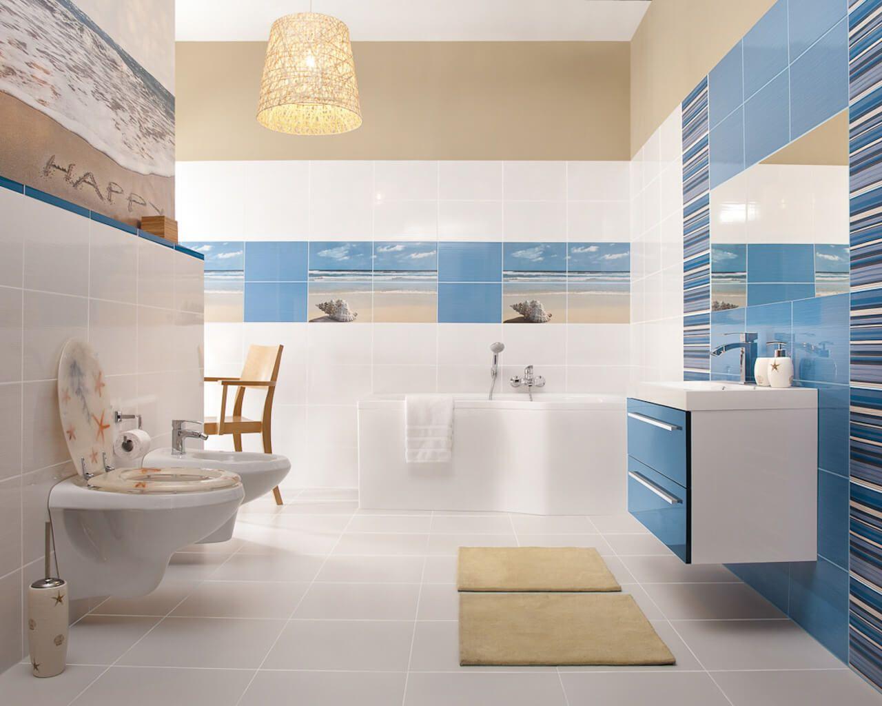 Biało Błękitna łazienka Z Motywem Plażowym Ceramika Paradyż