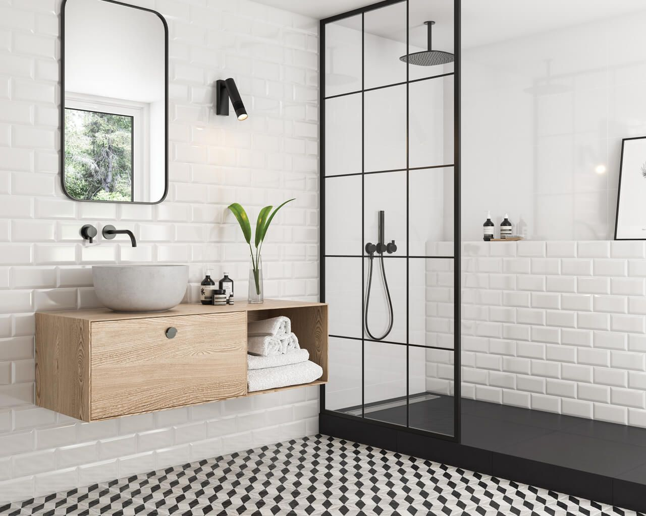 White brick and explosion of geometric patterns in a bathroom ...