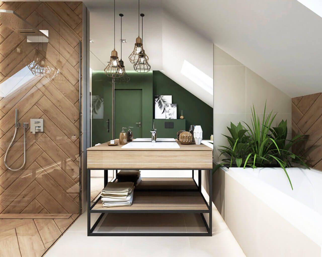łazienka W Zieleni I Drewnie Ceramika Paradyż