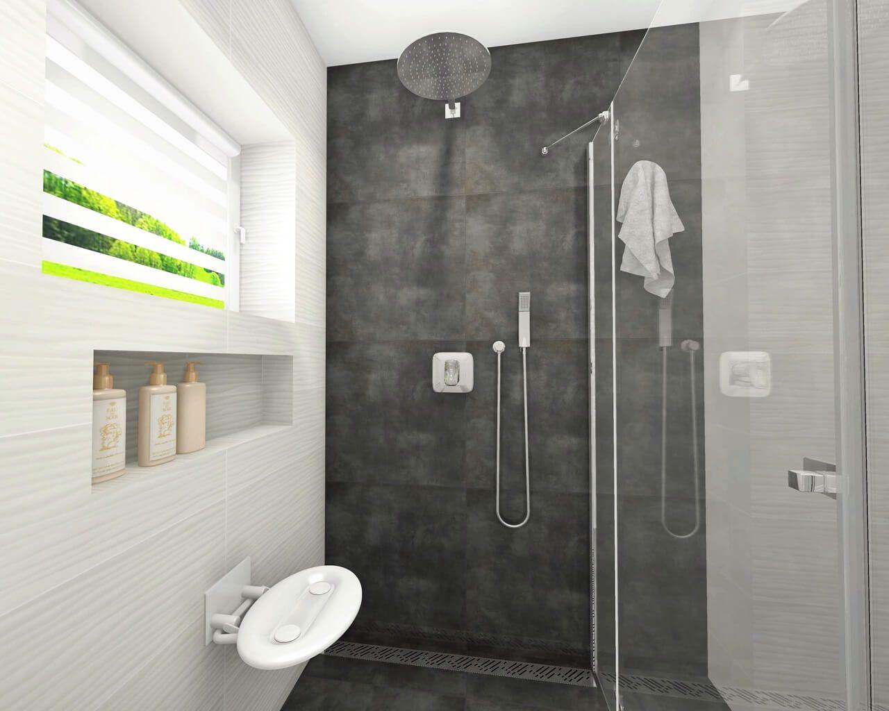 Biało Szara Nieduża łazienka Z Kabiną Prysznicowa