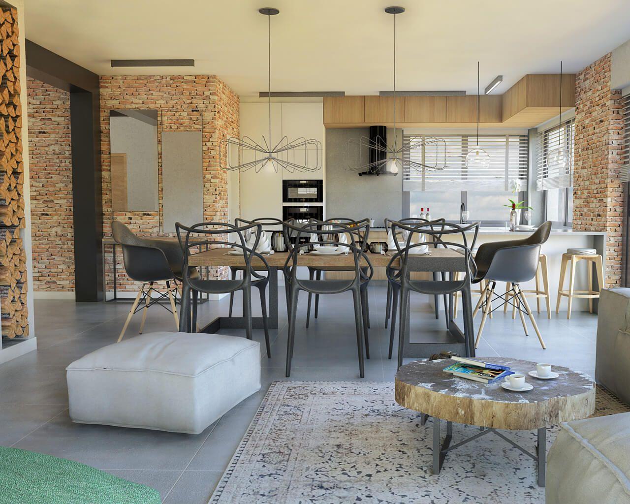 Połączenie Kuchni I Salonu W Klimacie Loftowym Ceramika