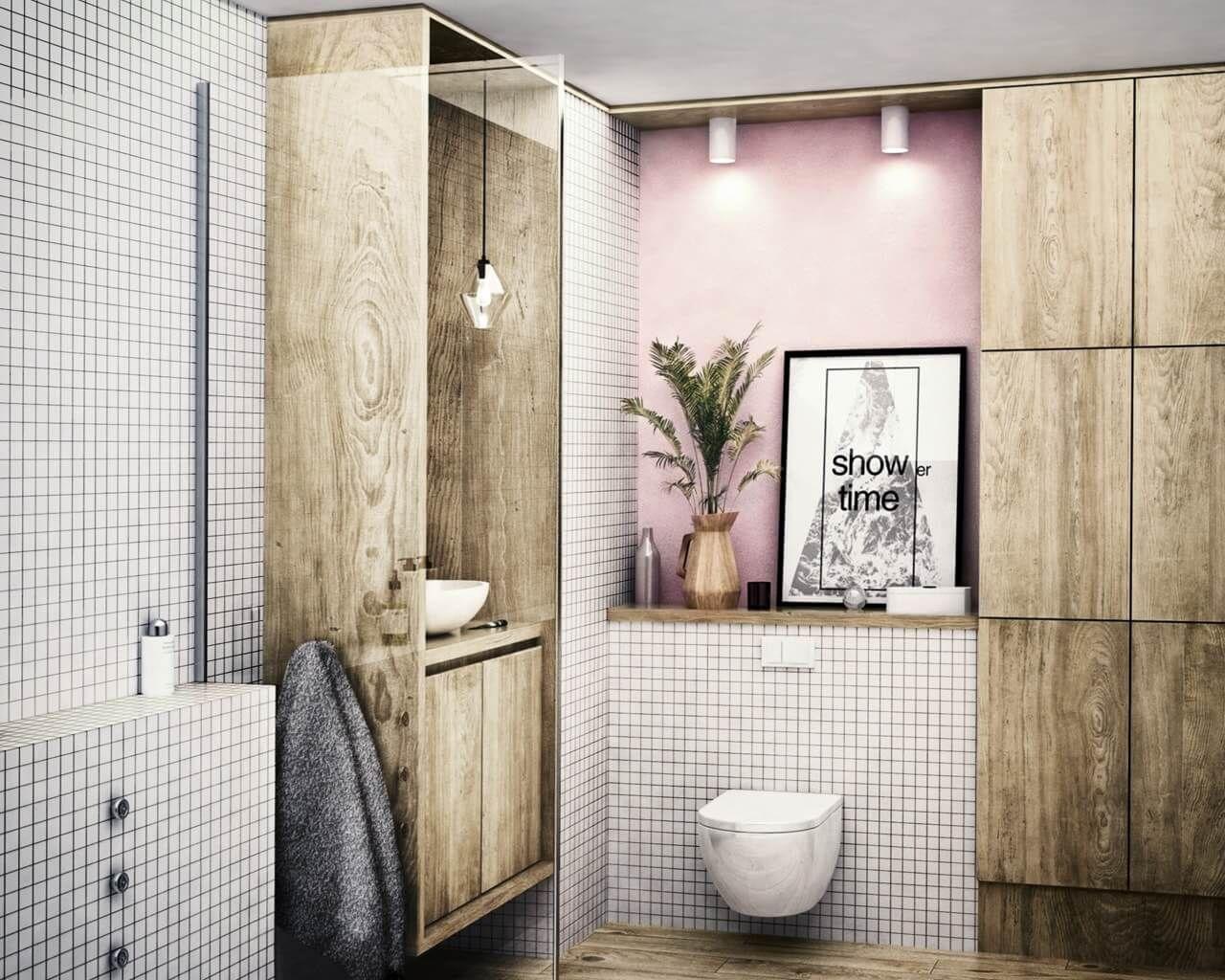 Biała Mozaika I Surowość Drewna W Niedużej łazience