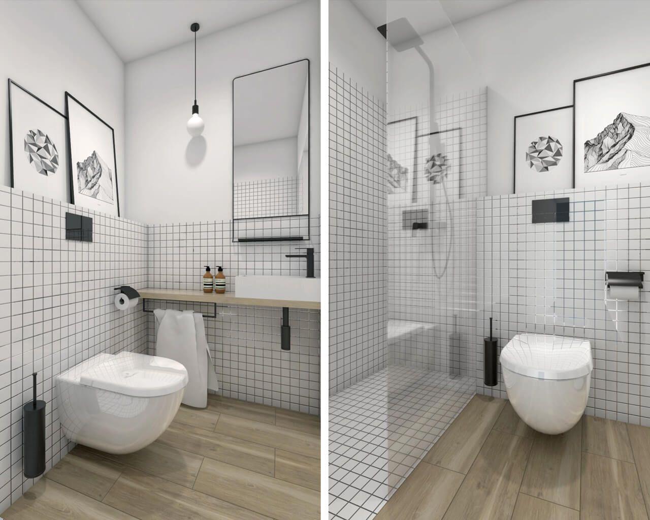 Aranżacja małej łazienki dla gości w domu jednorodzinnym ...