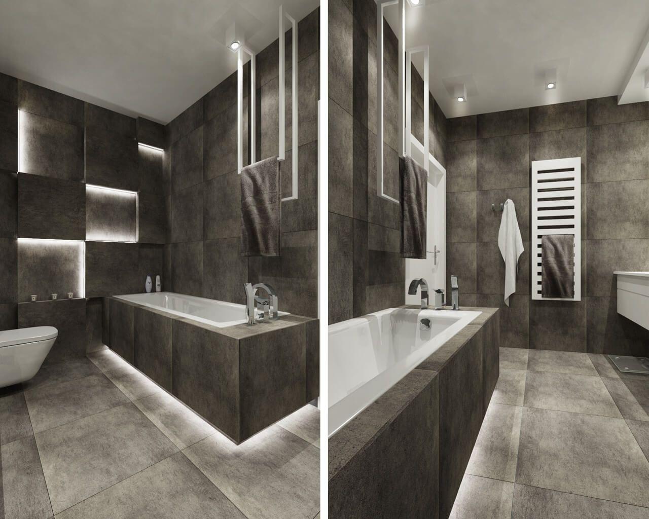 Nowoczesna łazienka Utrzymana W Ponadczasowej Kolorystyce