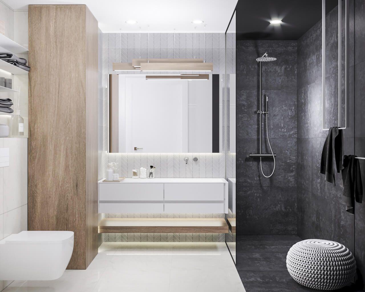 Jasno Ciemna łazienka Z Elementami Drewna I Kamienia
