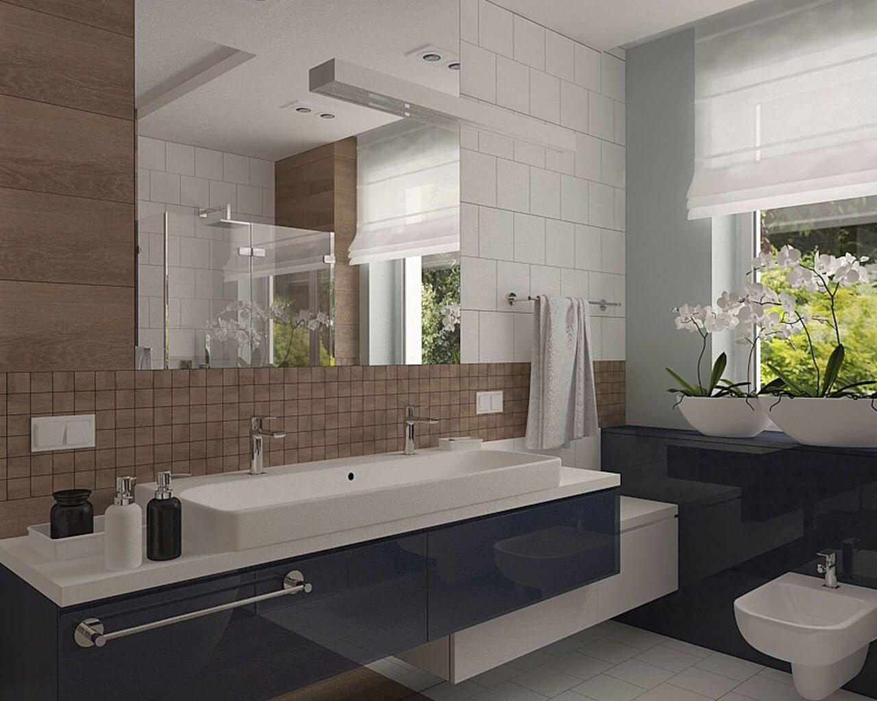 Ceramiczne Drewno Granat I Biel W łazience Z Oknem
