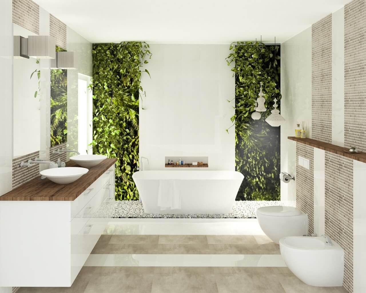 Biel i drewno w łazience w stylu eco i hygge | Ceramika ...