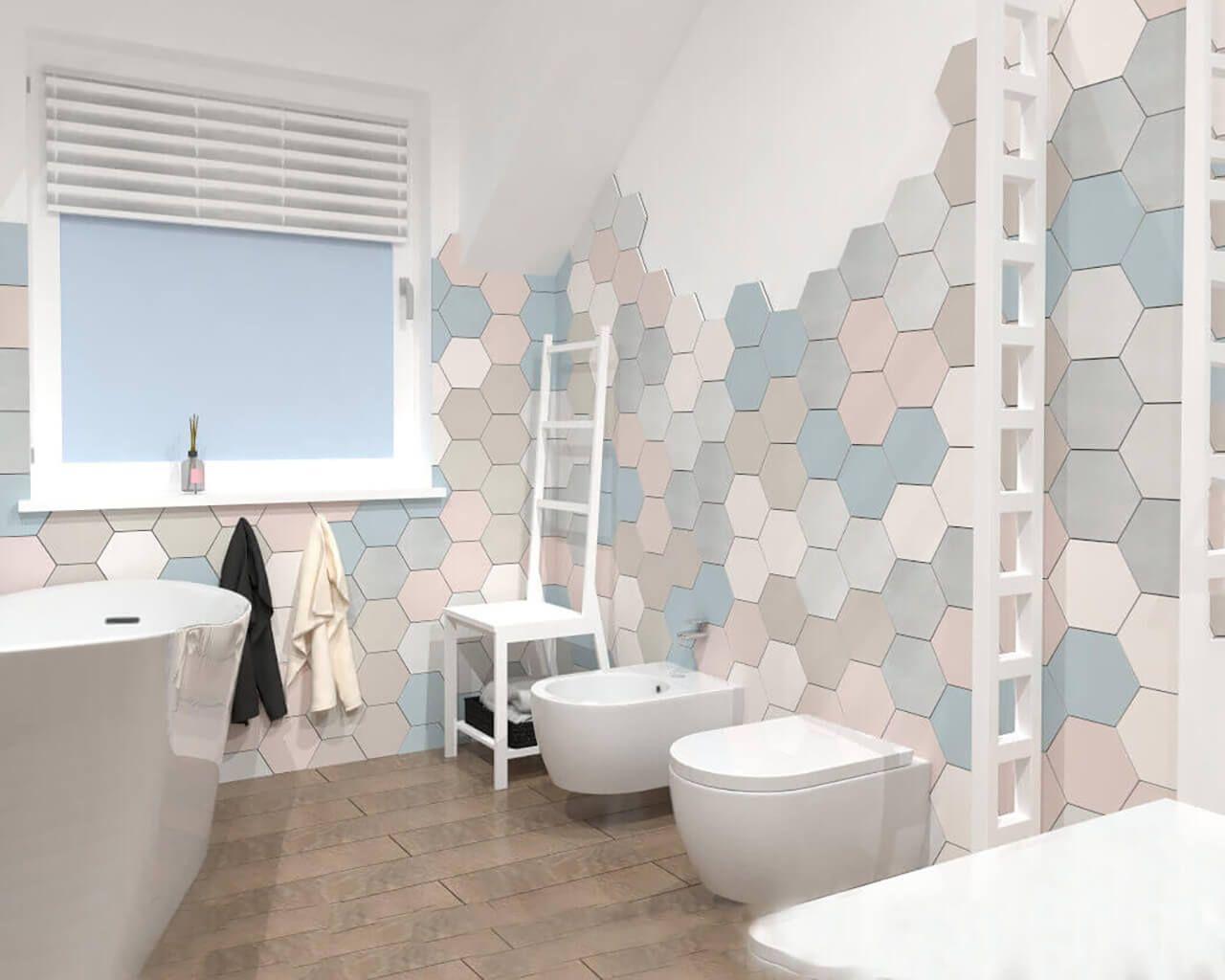 Heksagonalne Płytki W łazience Na Poddaszu Ceramika Paradyż