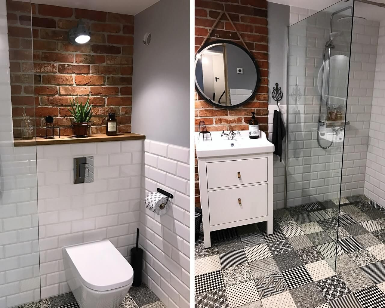 Biała cegła i cegła czerwona w małej łazience | Ceramika ...