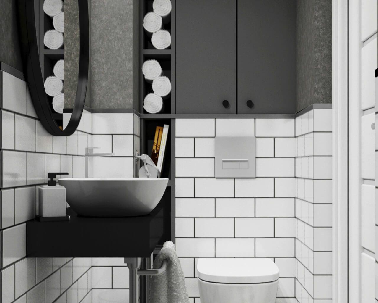 Czarno Biała Mini łazienka Ceramika Paradyż