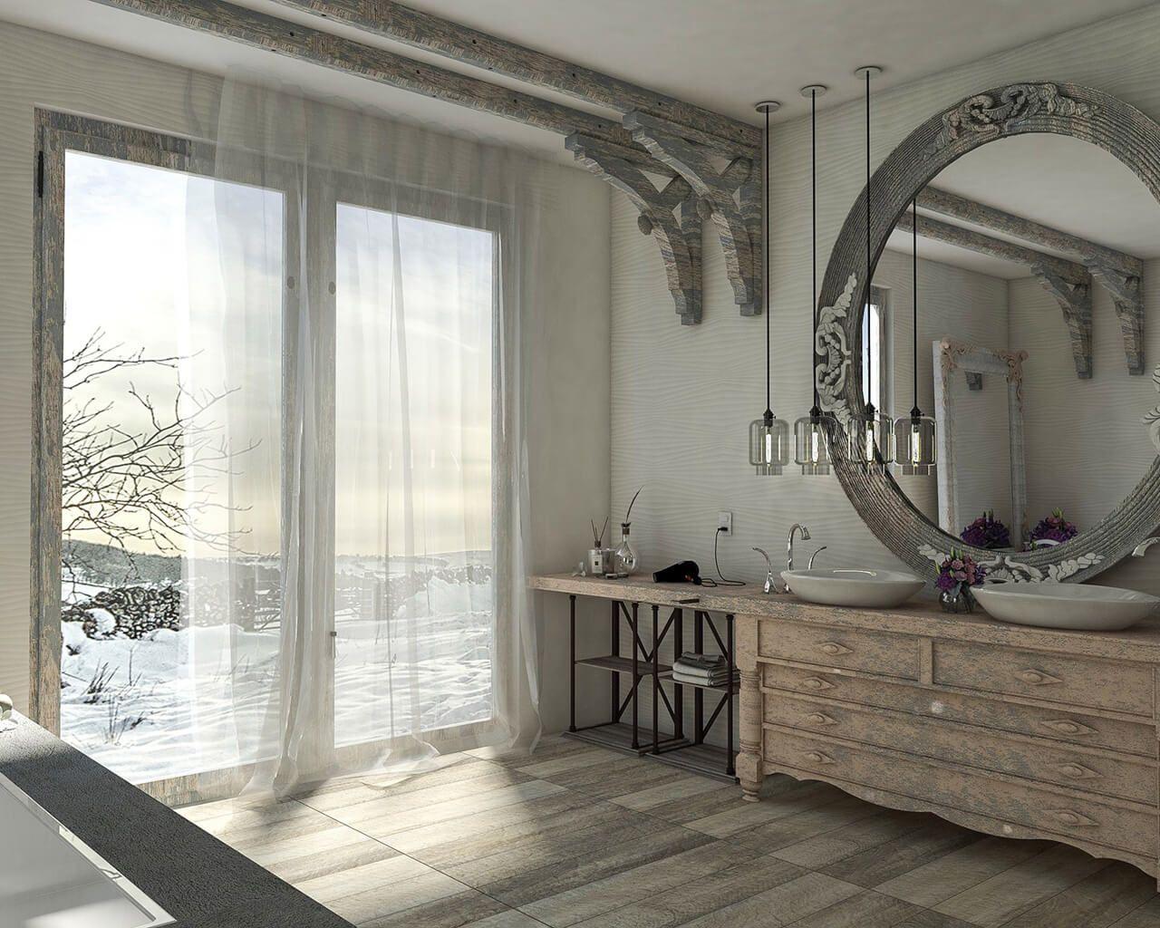 Współczesna łazienka W Stylu Retro Z Geometrią W Tle