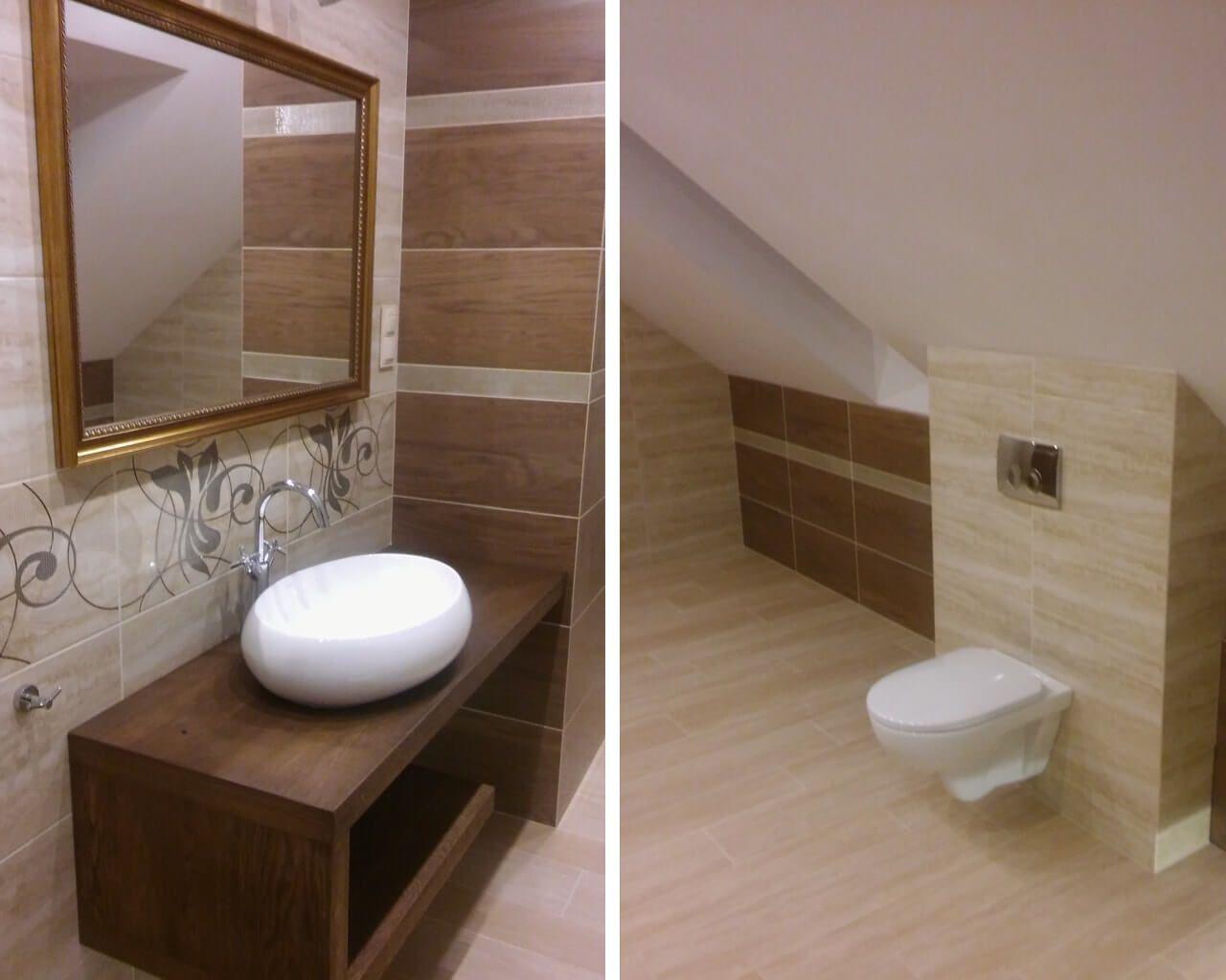 Marmurowo Brązowa łazienka Na Poddaszu Z Narożną Wanną