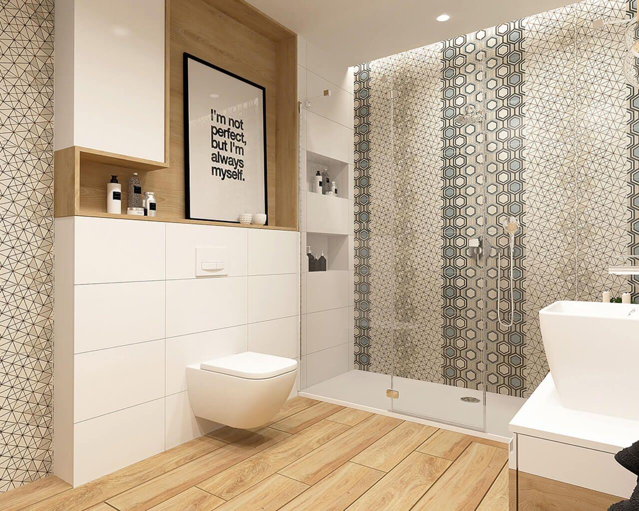Biało Geometryczna Mała łazienka Ceramika Paradyż