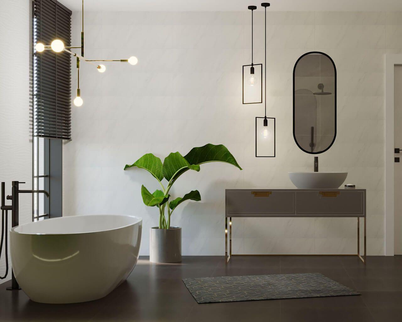 Geräumiges, helles Badezimmer: Minimalismus + Art Deco  Ceramika